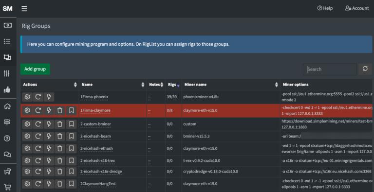 Ekran za podesuvanje na mining softverot vo SimpleminingOS